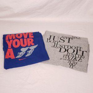 2 Nike Womens Size Large Slim Fit Workout Tshirts